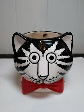 Sigma the Tastesetter mug figural cat head 3D cup Kliban black white red bow tie
