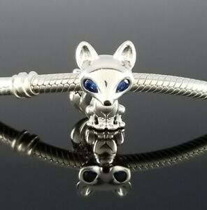 New  Authentic Pandora Blue Eyed Fox Silver Charm Bead