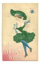 Used 1909 Postcard The Merry Widow Embossed Card Dress & Hat Are Silk