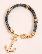 Rope Bracelet with Gold Anchor & Chain Grey Woven Rope New