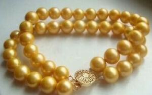 """7.5"""" 8"""" 2Rows 8mm Round Golden South Sea Shell Pearl Beads Bangle Bracelet AAA+"""
