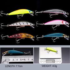 Lot 6x Plastic Minnow Fishing Lures Bass Crankbaits  7.7cm 4.0g