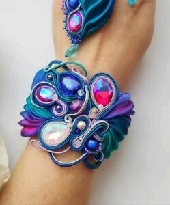 Blue purple fuchsia Embroidered Shibori Silk Soutache bracelet Fabric Jewelry