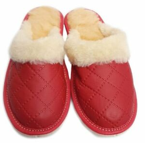 COMFORT WARM HANDMADE WOMEN SLIPPERS  NATURAL LEATHER ECOLOGICAL FUR