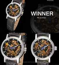 beautiful storm Winner round gold leather strap woman Mechanical Watch