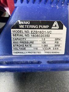 Iwaki Walchem Chemical Metering Pump EZB11D1-VC  0.6 GPH, 150 PSI Looks new and