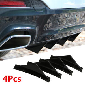 4Pcs Universal Car Rear Bumper Lip Diffuser Shark Fin Style Spoiler Decoration