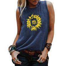 Women Summer Sleeveless Floral Print Crew Neck Blouse Casual Loose Tank T Shirt