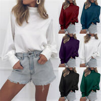 Womens Plain High Neck Loose Blouse Tops Ladies OL Long Sleeve Shirt Pullover
