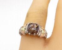 925 Silver & 12K GOLD - Vintage Smoky Quartz Floral Leaf Band Ring Sz 8 - R17468