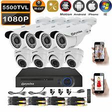 Eyedea 8CH DVR 5500TVL 1080P Bullet Dome Night Vision CCTV Security 8 Camera Kit