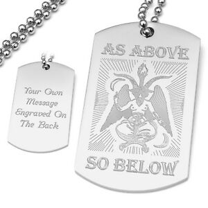 Personalised Engraved Baphomet Dog Tag Pendant As Above So Below Knights Templar