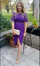 Virgos Lounge Purple Nicola Embellished Wrap Wedding Party Dress UK 16 44