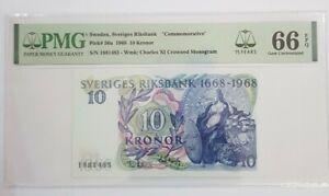 """1968 SWEDEN 10 Kronor """" COMMEMORATIVE"""" PMG66 EPQ GEM UNC [P-56a]"""