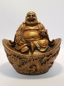"Laughing Buddha Gold Finish Statue Sitting on Ingot 100mm H x 100mm ""Good Luck"""