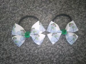 Girls christmas The Snowman hair bobbles x 2 paired