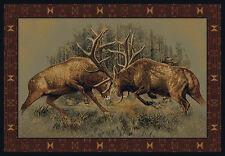 "5x8 (5'3"" x 7'6"") Elk Lodge Cabin Southwestern Rustic Buckwear Area Rug"