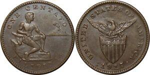 1917-S US/Philippines 1 Centavo ~ XF/AU Details ~ Allen#2.15 ~ MX907