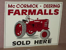 McCormick Deering FARMALL SIGN - Shows alot of Detail of an OLD RED FARM TRACTOR