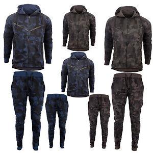 Men's Camouflage Fleece Army Camo Tracksuit Hoodie Zipper Joggers 2 Piece S - XL