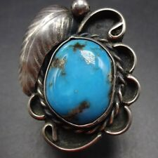 Classic Vintage NAVAJO Sterling Silver and Deep Blue TURQUOISE RING, size 8.5