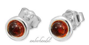 Ohrringe Ohrstecker  Bernstein Amber Silber 925 7 mm sehr robust