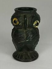 More details for antique carved irish bog oak thimble holder owl with glass eyes
