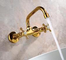 Chrome Brass Kitchen Faucet Dual Handles Swivel Spout Sink Mixer Tap Wall Mount