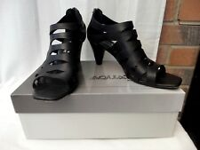 """RUSSELL & BROMLEY Aquatalia UK 6 / 39 Black leather strappy shoes 2.5"""" heels VGC"""