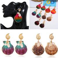 Fashion Earrings Big Shell Shape Pendant Statement Dangle Drop Women Jewelry NEW