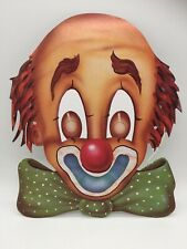 Vintage Halloween Mask Paper Card Circus Clown With Bowtie Pennywise IT Creepy