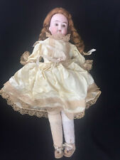 """Antique Bisque Mabel German Doll Leather Body 15"""" As Is Legs Need Attaching"""