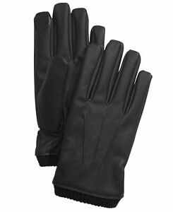 Calvin Klein Mens Winter Gloves Black Size Large L Knit Faux Leather $55 #368