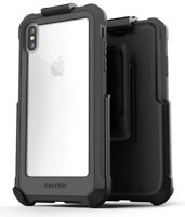 iPhone XS Max Belt Clip Clear Protective Case Cover with Holster | Falcon | Grey