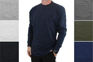 Dickies' Men's Long Sleeve T-Shirt Longer Length Lightweight Crew Neck, Pocket