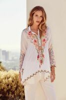 Johnny Was Embroidered Festival Tunic Blouse C23318  Boho Chic NEW