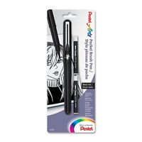 Pentel Brush Pen with 2 Refills - Black Ink. Perfect for Manga & Oriental Styles