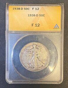 1938-D WALKING LIBERTY SILVER HALF DOLLAR ANACS FINE-12, SEMI-KEY DATE COIN