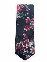 "Express Men's Tie - Floral Red Petals Black Background 2.75"" Classic Width Silk"