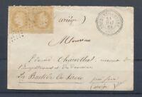 1869 Lettre 2*N°28 Obl GC4789 +T22 perlé BROMONT-LAMOTHE PUY-DE-DOME (62). P4457