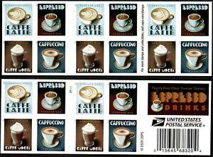 Coffee FOREVER ( Scott 5569-72 ) BK-20 MNH Latte Espresso Mocha Cappuccino