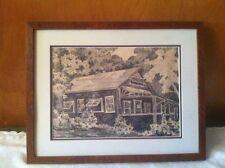 Antique J. Ormsbee Simon House Cabin Pencil Sketch Drawing