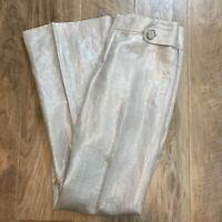 BANANA REPUBLIC PANTS MARTIN FIT METALLIC LINEN SHINY GOLDEN BEIGE LINED NEW 2