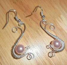 STERLING SILVER FREE-FORM HANDMADE WIRE EARRINGS w/PINK PEARL BEAD #320