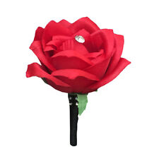 Boutonniere-Artificial Red Rose with Black ribbon and bling.Pin included