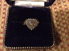 Diamond Heart Shaped Cluster Ring 10K Size 7.5