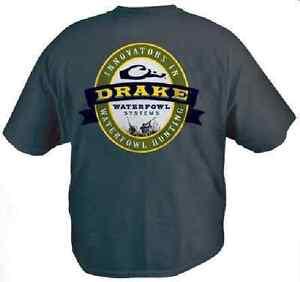 DRAKE WATERFOWL 385 SMALL YOUTH GUNNER SHORT SLEEVE T SHIRT NAVY BLUE