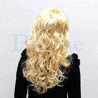 Sexy Fashion Blonde Lady Long Wavy Curly Fancy Dress Party Hair Full Wig