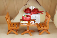 Dining furnitures Table Chairs With Cooking Tools For Sylvanian Families Dolls