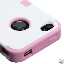 APPLE iPHONE 4 4S MULTI LAYER TUFF HYBRID CASE ACCESSORY WHITE/PINK